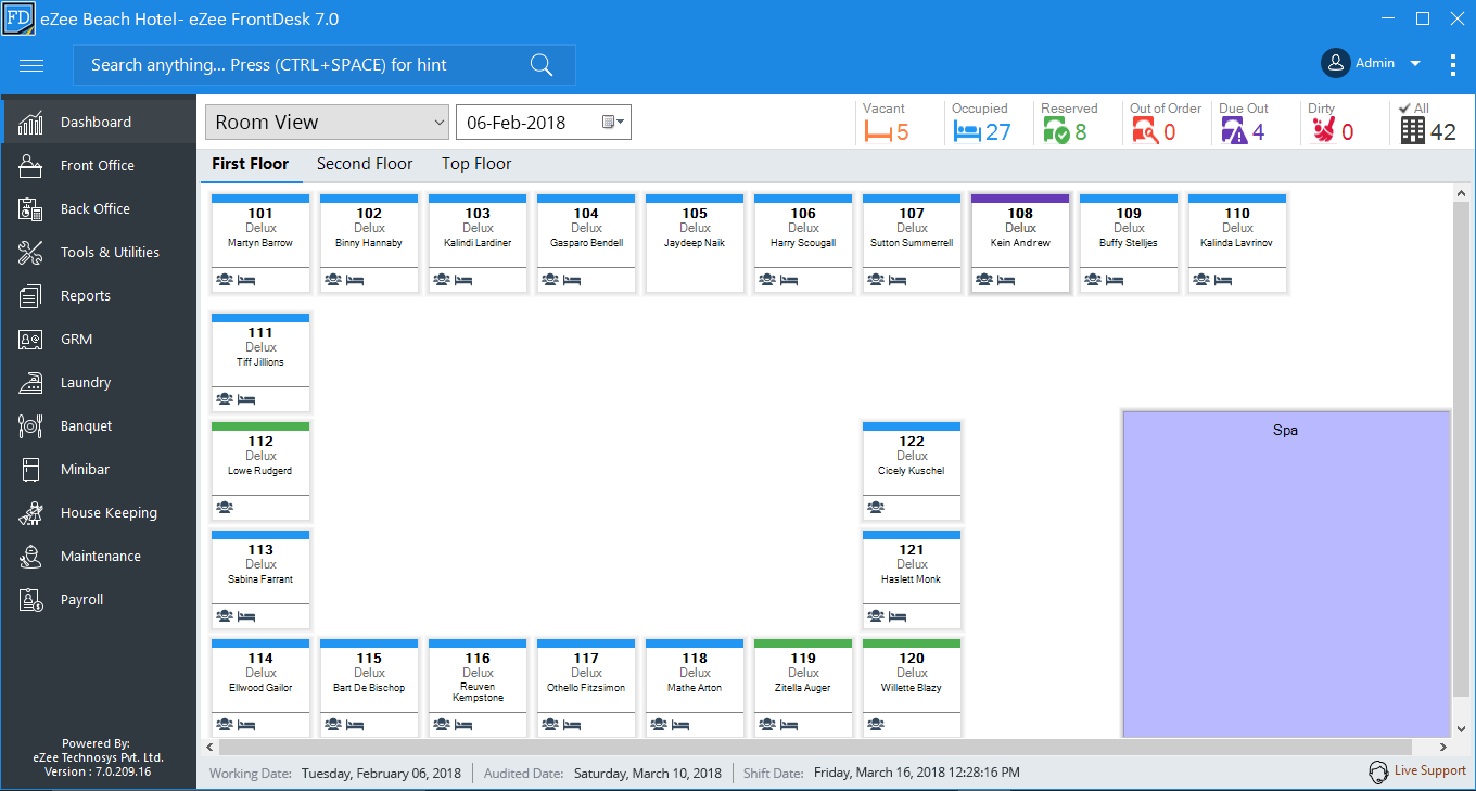 Screenshots Preview Of Ezee Frontdesk Hotel Software